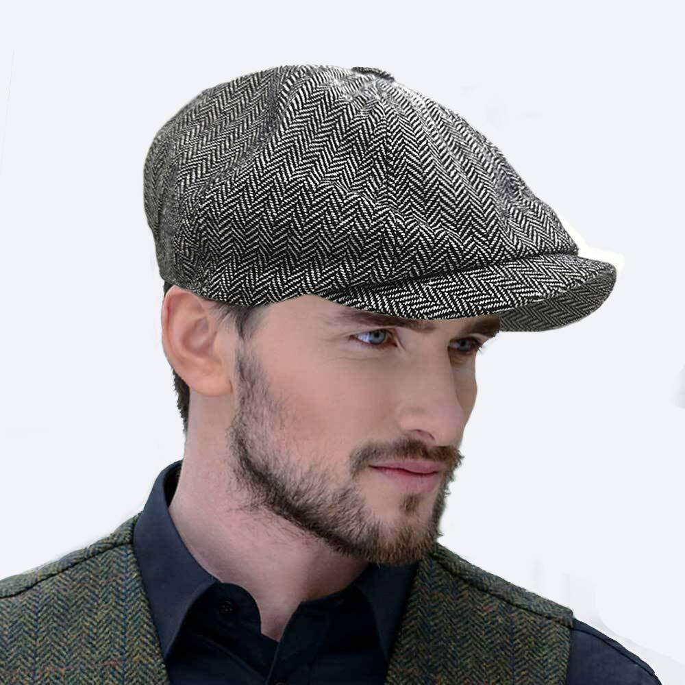 SIYWINA Peaky Baker Boy Flat Cap Mens Newsboy Cap Herringbone Cloth Cap Hat
