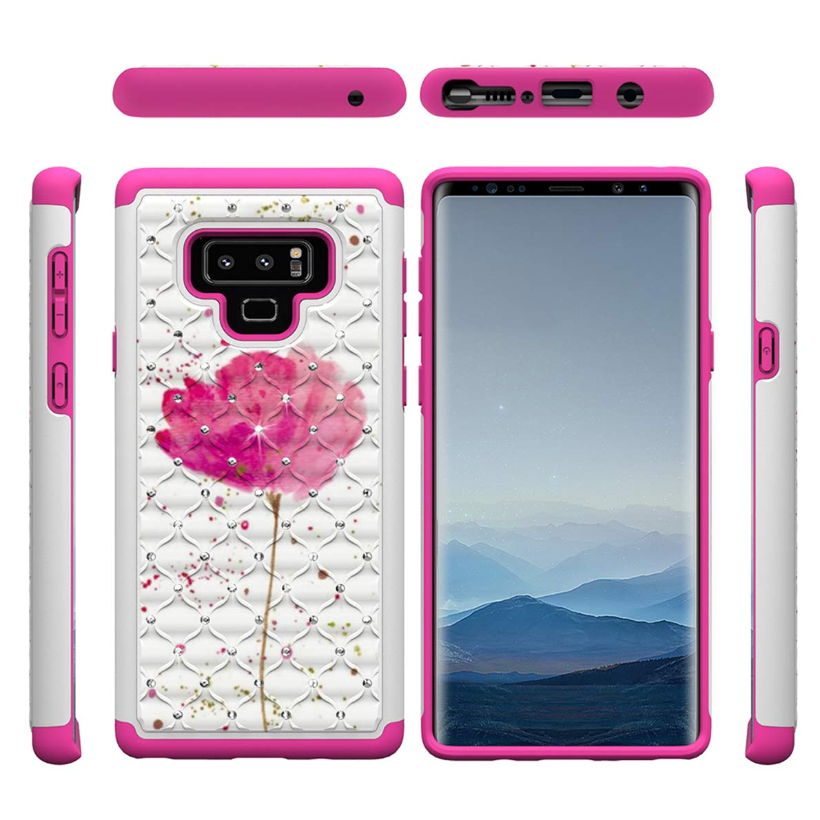 Samsung Galaxy Note 9 Hülle, SHUTIT Farbe Muster Case Bling Shiny Glitzer Shockproof Schutzhülle 2 in 1 Hybrid Harte PC Weiche TPU Schale Cover Handyhülle für Samsung Galaxy Note 9 SHUYIT