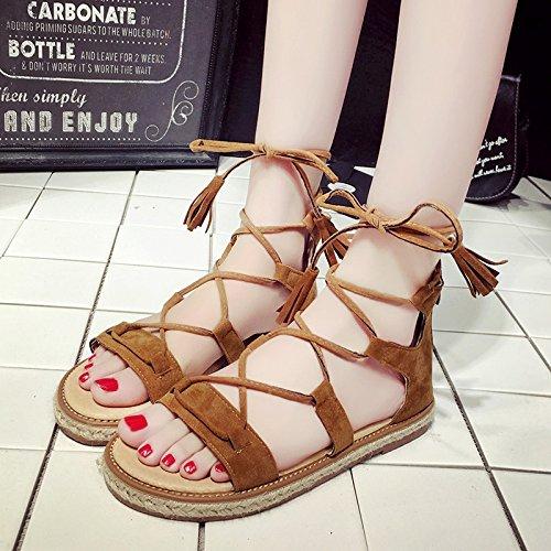 Moda Mujer verano sandalias confortables tacones altos,37 negro Brown