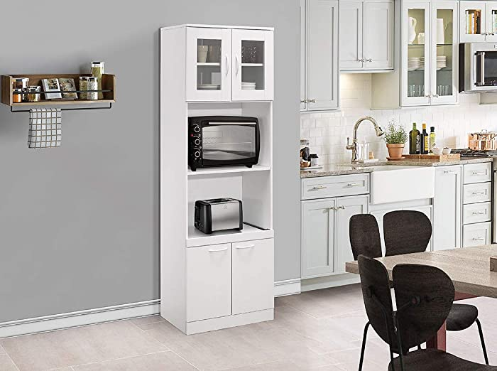Kings Brand Furniture - Tall Kitchen Pantry, Microwave Storage Cabinet, White