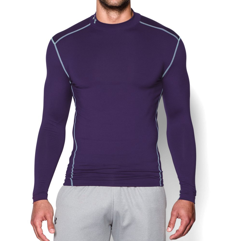 Under Armour Men's ColdGear Armour Compression Mock Long Sleeve Shirt, Purple /Steel, Small