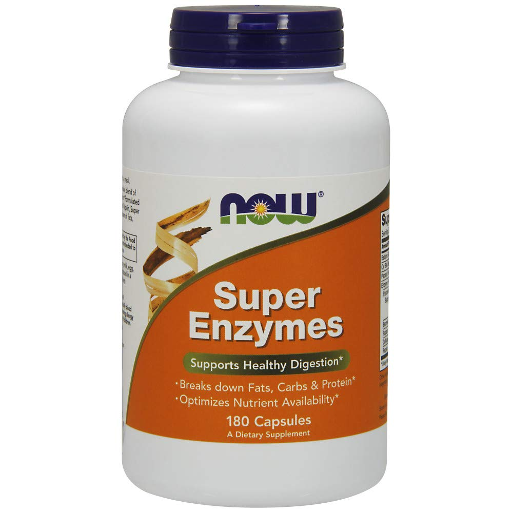 NOW Supplements, Super Enzymes, Formulated with Bromelain, Ox Bile, Pancreatin and Papain, Super Enzymes,180 Capsules by NOW Foods