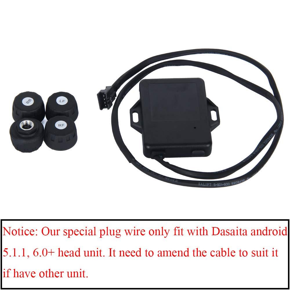 Temperatura e Allarme di Sicurezza Dasaita Sistema di monitoraggio della Pressione degli Pneumatici con 4 sensori per Auto