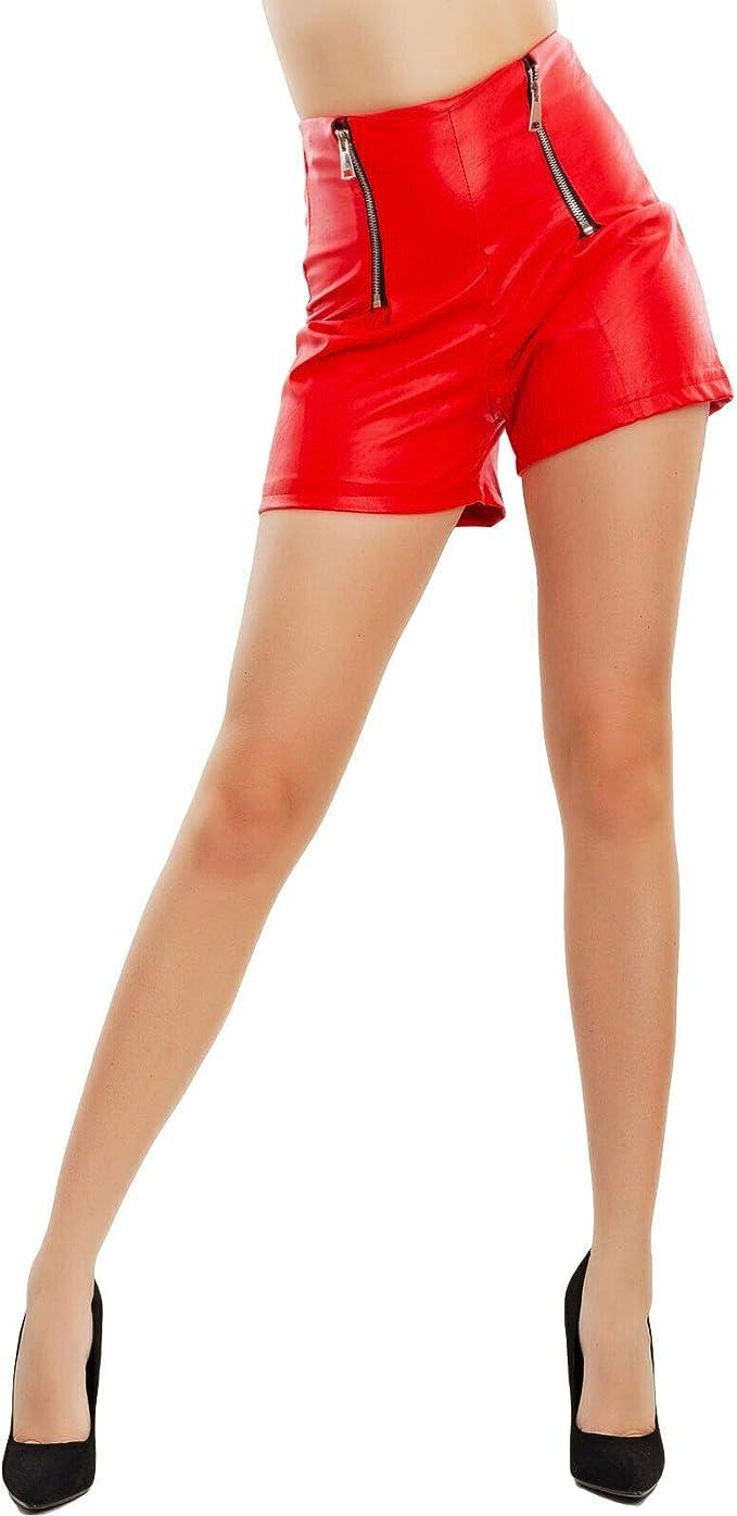 Toocool Pantaloncini Donna Pelle Sintetica Hotpant Zip Vita Alta Shorts JL-2622