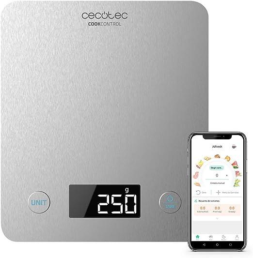 Cecotec Báscula de Cocina Cook Control 10000 Connected con App, Acabado en Acero INOX, precisión de 1 gr, Capacidad de 5 kg, Pantalla LCD, diseño extraplano, Recubrimiento antihuellas: Amazon.es: Hogar