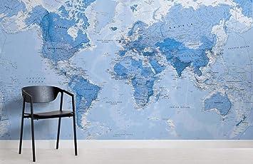 Sombreado Azul Mapa político Habitación 3D Mural de pared Foto Papel pintado Imagen Decoración Fresco Decoración Dormitorio 350×245cm: Amazon.es: Bricolaje y herramientas