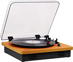 MUSITREND Retro Record Player for 33/45/78 RPM Vinyl Records, Turntable Wireless Portable LP Phonograph with Built-in Stereo Speakers