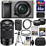 Sony Alpha A6000 Wi-Fi Digital Camera & 16-50mm Lens (Graphite) with 55-210mm Lens + 64GB Card + Case + Battery/Charger + Tripod + Tele/Wide Lens Kit