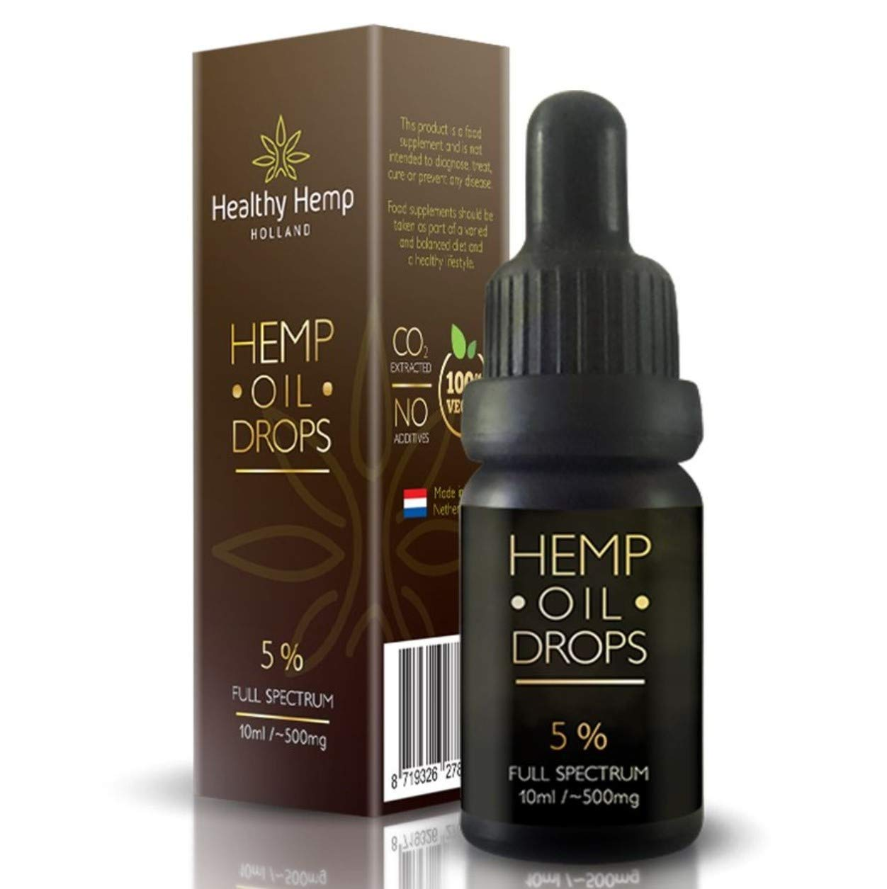 Hemp Oil Drops 5%, Organic Full Spectrum Co2 Extract, Great for Pain,  Anxiety & Stress Relief [ 10ml ] Best from The Netherlands (5% (500mg))