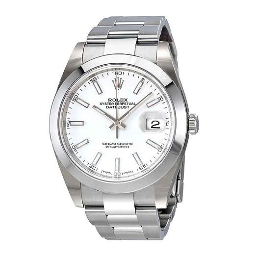 Rolex Oyster Perpetual Datejust Blanco Dial Automático Mens Reloj 126300 WSO: Amazon.es: Relojes