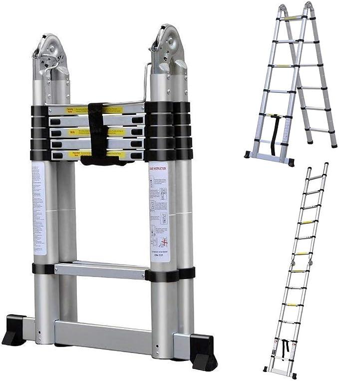 Bowose - Escalera telescópica de 3,8 m con protección para los Dedos (pies de Goma Antideslizantes, 150 kg): Amazon.es: Coche y moto