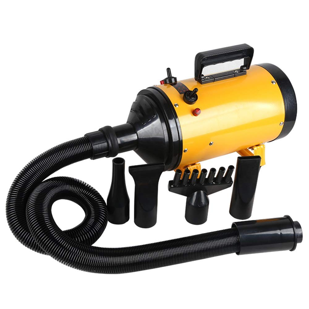 Yellow JIAO Pet Dryer Continuously Variable Speed Second Gear Heating Adjustable Wind Speed Fast Heat Does Not Hurt Hair With 4 Mouthpieces (color   Yellow)