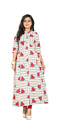 Manan Enterprise Women s Cotton A-Line Kurta (Off-White d27e565539