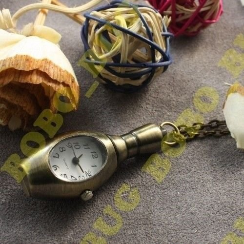 Cute Bowling Pin Bowls Clock Quartz Necklace Pocket Watch Pendant Sweater Chain (Bowling Quartz Clock)