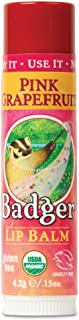 product image for Badger - Classic Lip Balm, Pink Grapefruit, Made with Organic Olive Oil, Beeswax & Rosemary, Natural Lip Balm, Certified Organic, Moisturizing Lip Balm, 0.15 oz