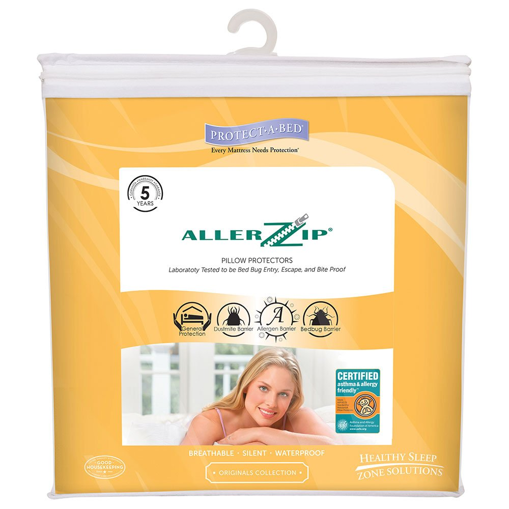Protect-A-Bed AllerZip Smooth Waterproof Pillow Protector, Queen 21x31, Pack/2 by Protect-A-Bed