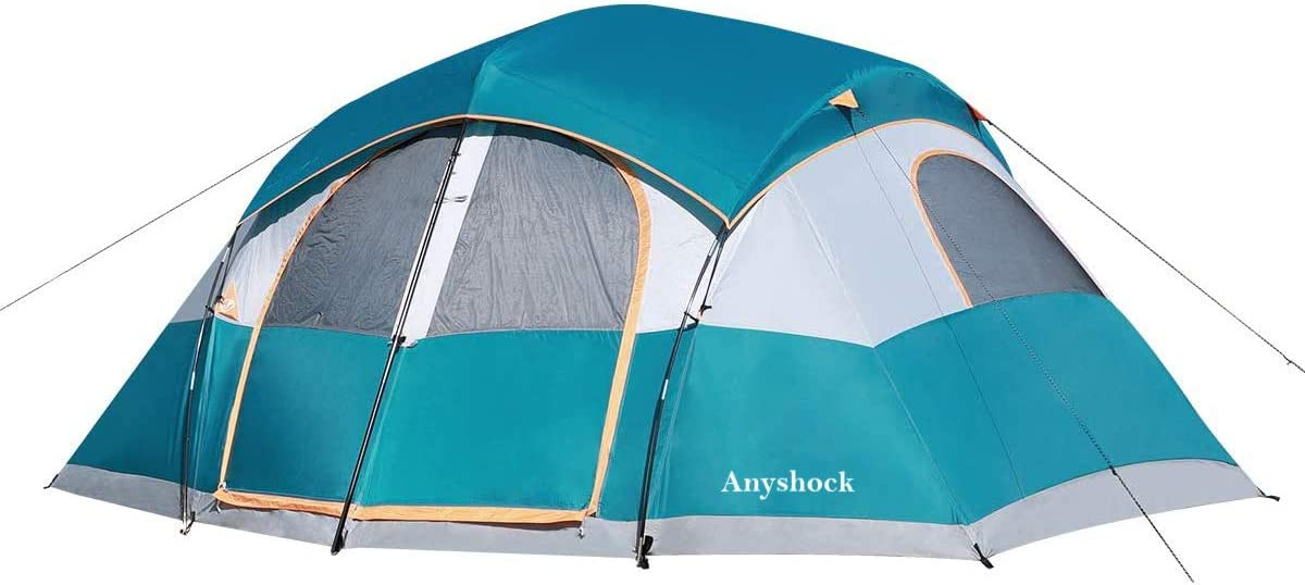 Amazon Com Anyshock Camping Tent 8 10 Person Waterproof Windproof Easy Setup Four Seasons Bigger Carry Bag Family Tent With Dividers Awning Removable Rain Fly 14 X 14 X78 Sports Outdoors