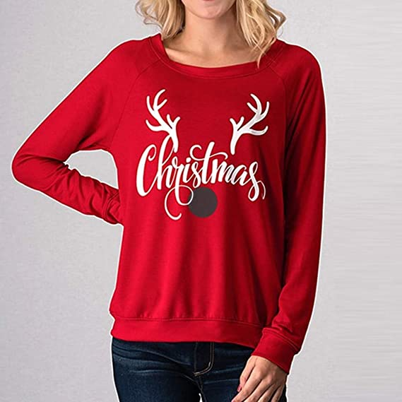 Malbaba Top Womens Long Sleeve Letter Christmas Elk Head Print Blouse Fashion T-Shirt at Amazon Womens Clothing store: