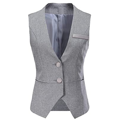 Vocni Women V-Neck Business Slim Fit Skinny Button Down Suit Dressy Vests Waistcoat at Women's Coats Shop