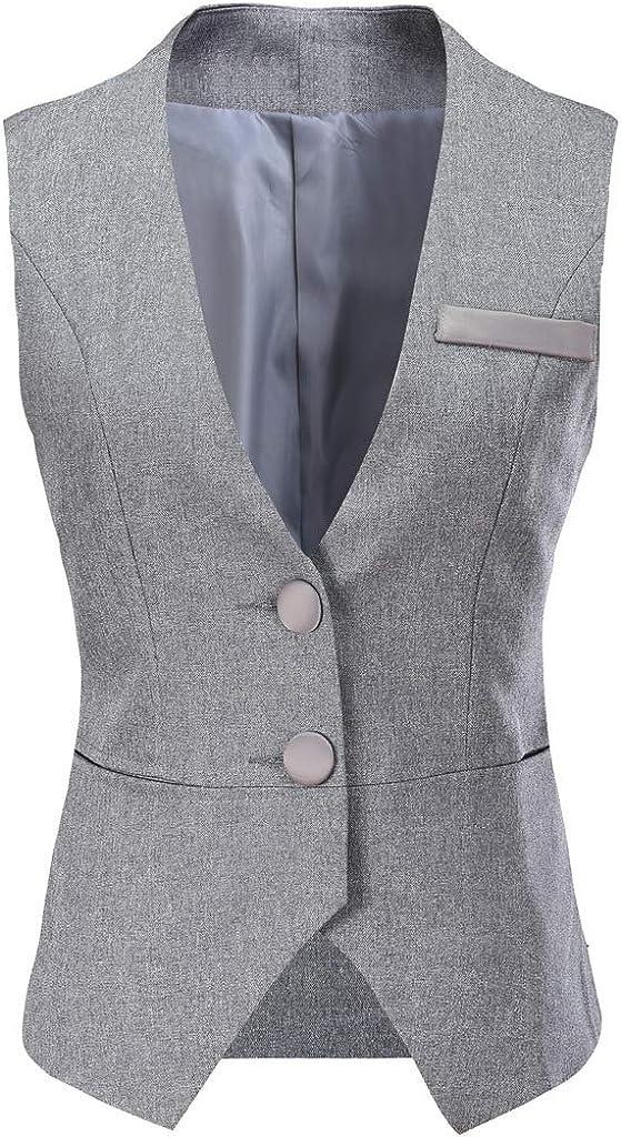 Vocni Women V-Neck Business Slim Fit Skinny Button Down Suit Dressy Vests Waistcoat