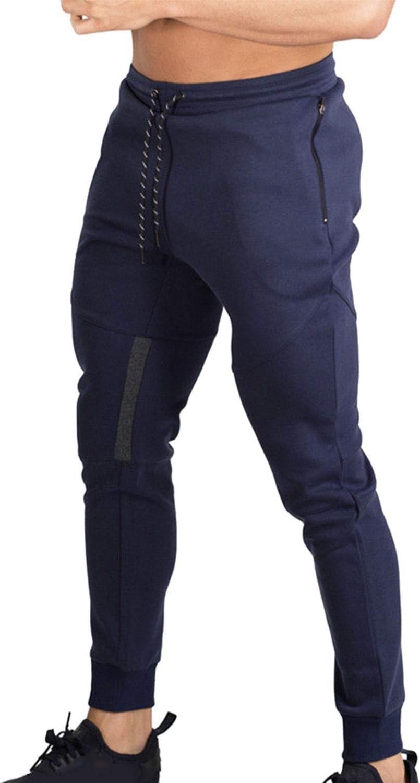 Naudamp Hombres Slim Gym Joggers Pantalones de ch/ándal Ch/ándal Correr Entrenamiento Ropa Deportiva Partes de Abajo Bolsillos con Cremallera Pantalones