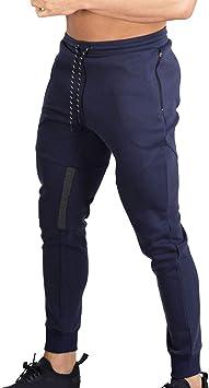Naudamp Hombres Slim Gym Joggers Pantalones de chándal ...
