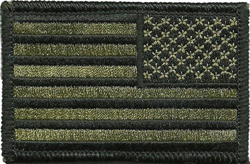 Tactical Reverse USA Flag Patch - Olive Drab 2