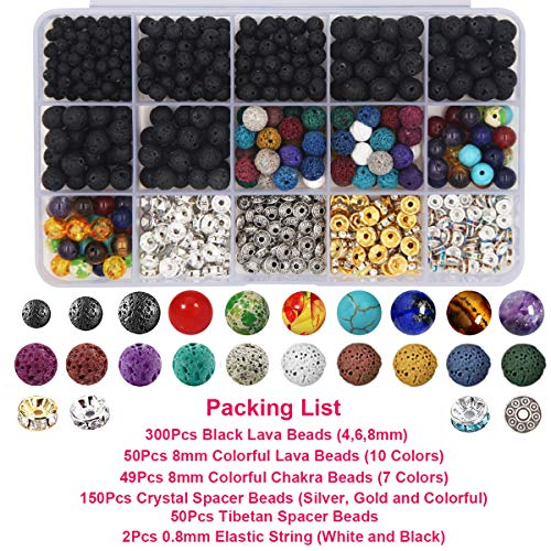 EuTengHao 602Pcs Lava Beads Stone Kits with 8mm Chakra Beads and Spacers Beads Bracelet Elastic String for Diffuse Essential Oils Adult DIY Jewelry Making Supplies