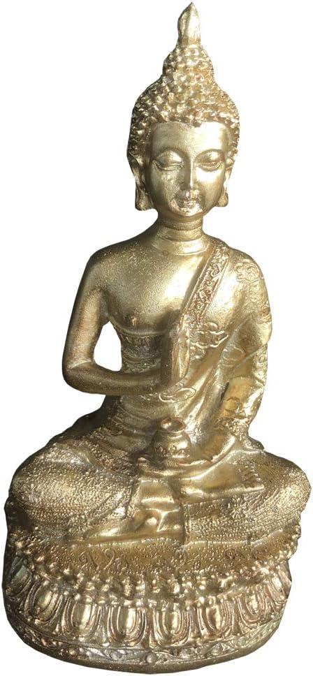 "KoHuiJoo Buddha Statue for Meditation, 6"" Tall Small Home Decor Thai Sitting Shakyamuni Buda Statues Resin with Bronze Finish (Gold, 6.7 inch)"