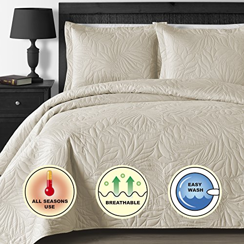 Comfy Bedding Extra light and Oversized Thermal Pressing Leafage 3 piece Coverlet Set King Cal King Beige