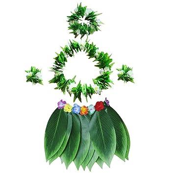 Amosfun Falda de Hierba Hula Tropical de Hawai con Hojas Verdes ...