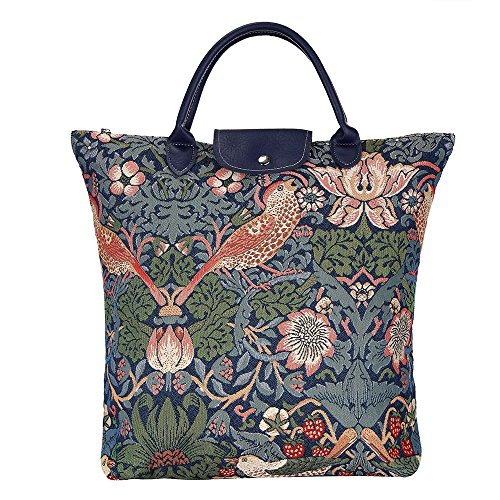 Blue Floral William Morris Strawberry Thief Tapestry Fold-able Reusable Grocery Shopping Bag by Signare - William Huges