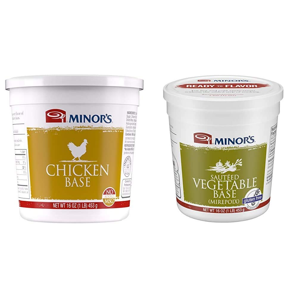 Minor's Chicken Base and Stock, Great for Soups and Sauces, 0 Grams Trans Fat, Poultry Flavor, 16 oz & Sauteed Vegetable Base, Instant Vegetable Stock and Base, Mirepoix, Gluten-Free, 16 oz