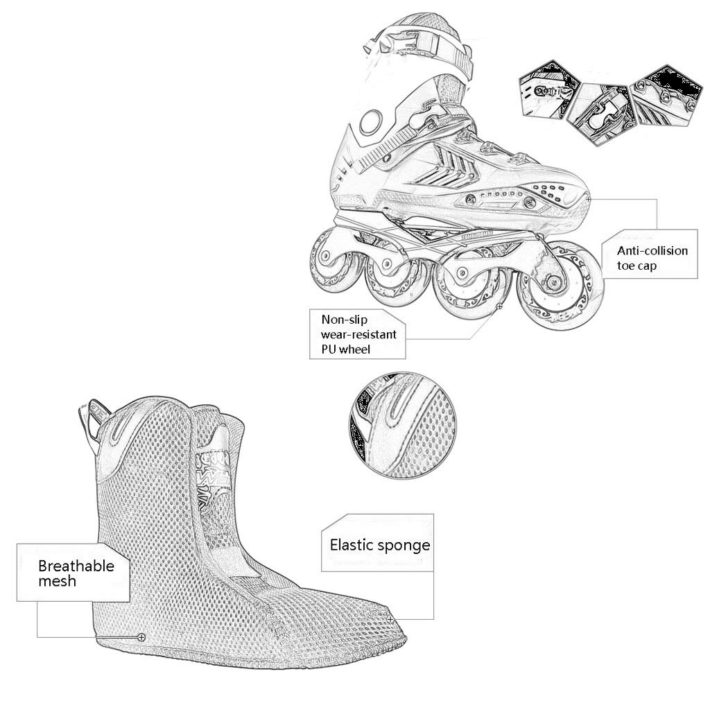 CNC One-piece Bracket Unique Shock Absorption Design White Suitable For Men And Women Boys Girls YANGXIAOYU Inline Skates