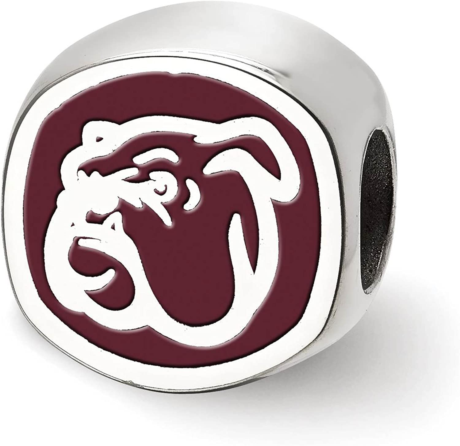 925 Silver Rhodium-plated Laser-cut Mississippi State University Cushion Shaped Double Logo Bead Charm