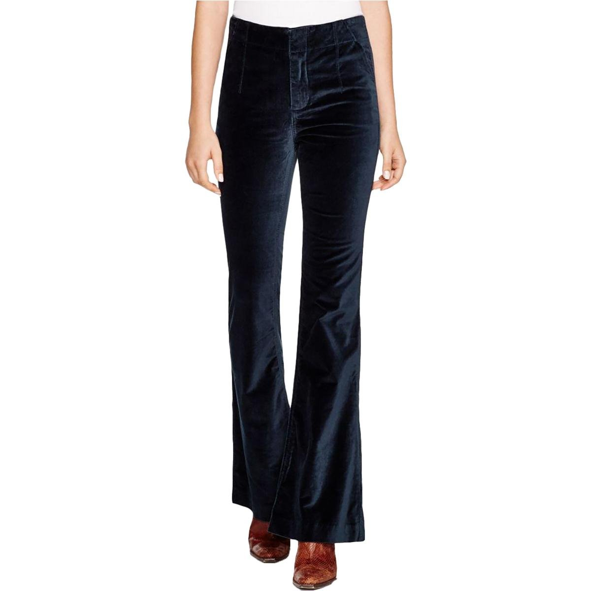 Free People Womens Oxanna Velvet Flare Leg Casual Pants Green 29