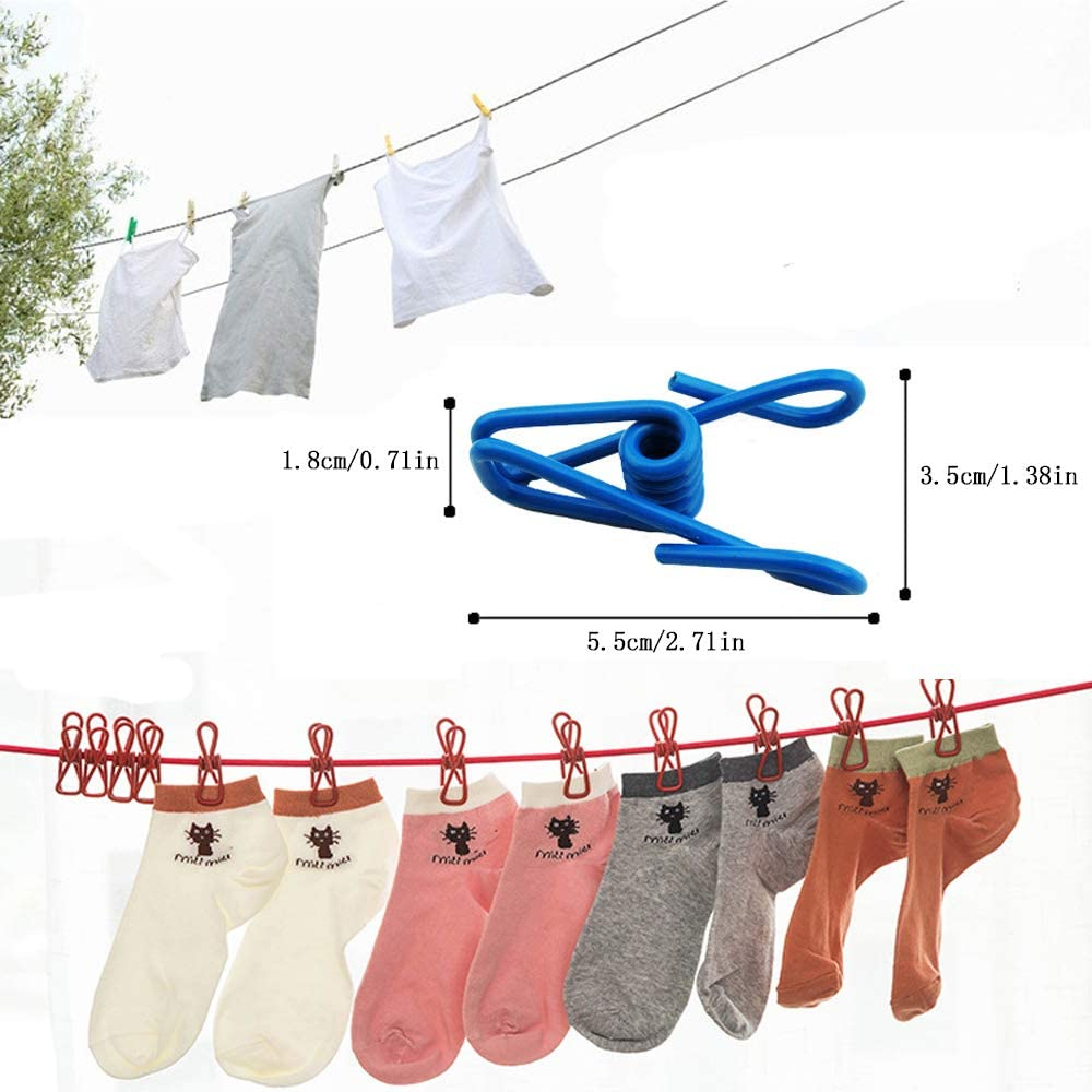 Windproof Clothes Line Rope MOTZU Portable Clothesline with 12 Pieces Clothespins//Clips for Outdoor Indoor Travel Camping Black