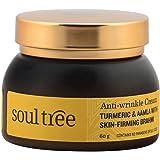 SoulTree Anti-Wrinkle Cream With Turmeric, Aamla & Skin Firming Brahmi, No Paraben or SLS/SLES, 60g