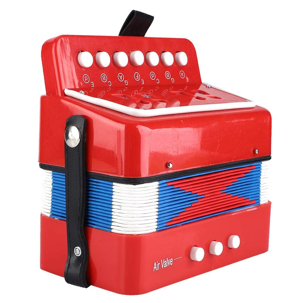Mini Accordion with 7 Keys, 2 Bass. Educational Musical Instrument, Musical Toy for Early Childhood Teaching(red)