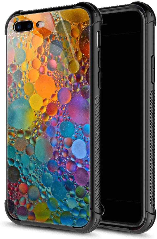 iPhone 8 Plus Case, Colorful Drops Marble iPhone 7 Plus Cases, Tempered Glass Back+Soft Silicone TPU Shock Protective Case for Apple iPhone 7/8 Plus
