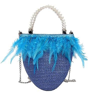 45ff493cc440b OHQ Sacs PortéS Main❤️Femmes Mode Perle Plume Woven Shoulder Messenger Bag  Noir Weave Pearl Sac à BandoulièRe Main A Bandoulieres Pas Cher De Marque  Cuir ...