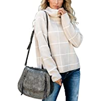 SERAPHY Women's Sweater Warm Winter Sweatshirts High Neck Plaid Knit Top Clothing Pullover Casual Autumn Sweaters