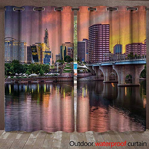 BlountDecor United States Grommet Curtain Panel Water Reflection in Evening Urban City Hartford Connecticut Tranquil SunsetW120 x L96 Multicolor