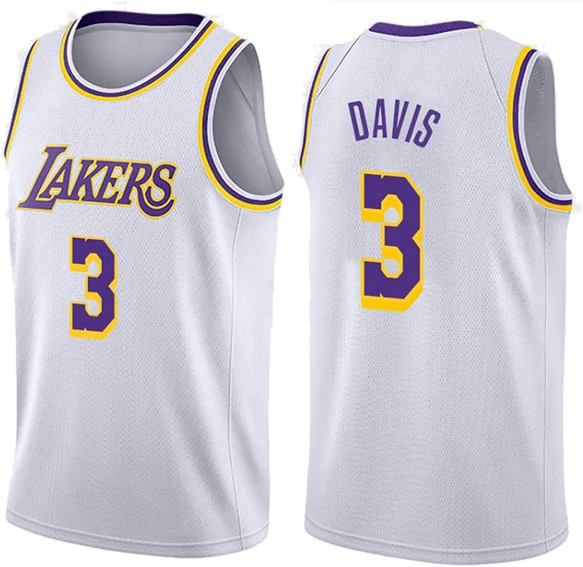 3 Davis Embroidery Basketball Vest Summer Mens Basketball Jersey No Breathable and Quick-Drying mesh Basketball Shirt-White-XXL