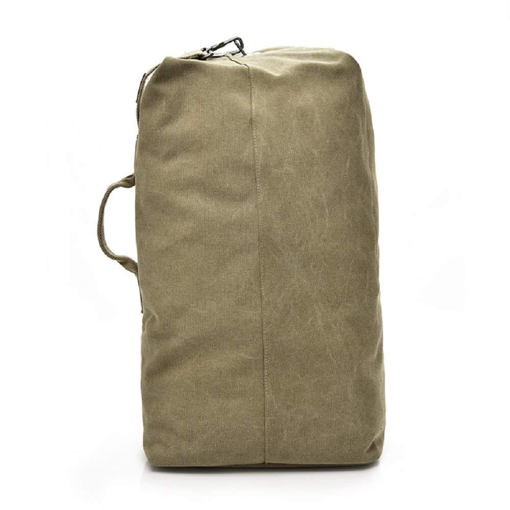 Top Load Canvas Duffle Bag Large Capacity Outdoors Sports Gym Bag Hiking Camping Backpack (KHAKI, SMALL) [並行輸入品] B07R4VW1FG