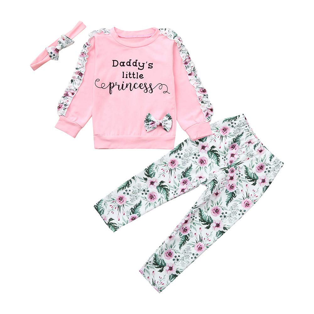 NUWFOR Baby Girls Kids Floral Clothes Long Sleeve T-Shirt+Pants+Headband Outfits Set(Pink,3-6Months by NUWFOR (Image #3)