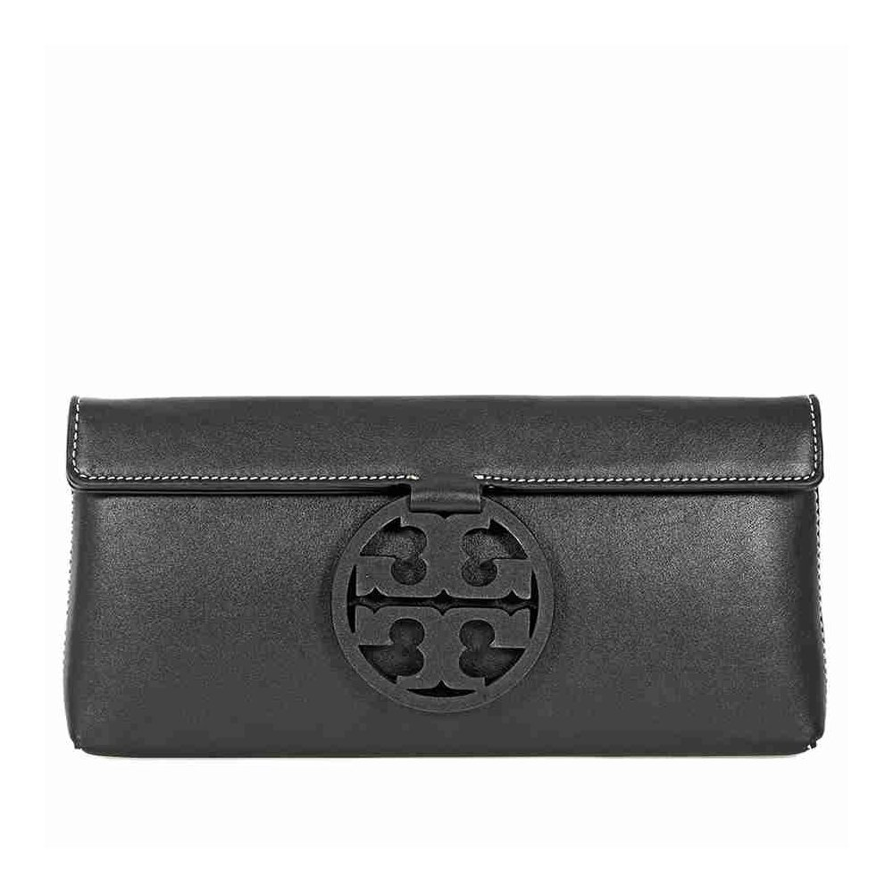 Tory Burch Miller Leather Clutch (Black)