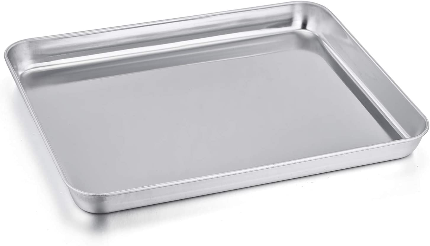 Toaster Oven Pan, P&P CHEF Stainless Steel Toaster Oven Tray Bakeware, Rectangle 12.5'' x 9.7'' x 1'', Non Toxic & Healthy, Mirror Finish & Easy Clean