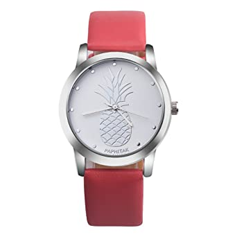 Amazon.com: Souarts Womens Red Artificial Leather Pineapple ...