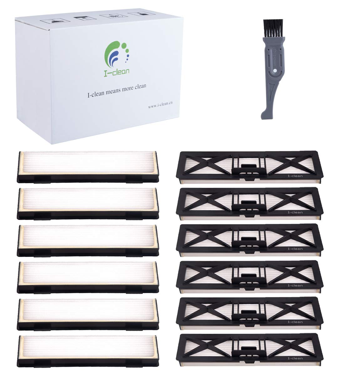I clean Compatible with Neato Botvac Connected Filters 12 Pcs,Replacement Parts for All Neato Botvac,Neato Botvac D & Connected Series D80 D5 D3 D85 D7,with A Free Cleaning Brush